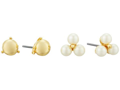 LAUREN Ralph Lauren Two Dozen Roses Double Stud Earrings Set - Gold/Pearl
