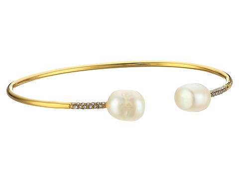 LAUREN Ralph Lauren Talk that Talk Open Pearl Cuff Bracelet - Gold/Freshwater Pearl