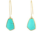 LAUREN Ralph Lauren Turquoise and Caicos Elongated Wire with Stone Drop Earrings
