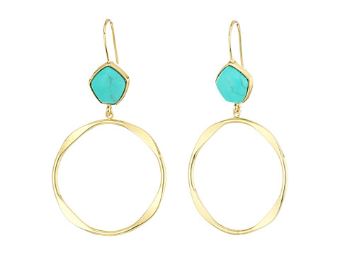 LAUREN Ralph Lauren Turquoise and Caicos Gypsy Hoop Earrings - Gold/Turquoise