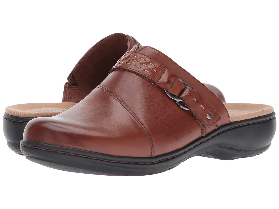 Clarks Leisa Sadie (Dark Tan Leather) Clogs