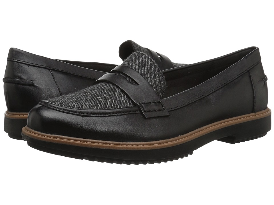 Clarks Raisie Eletta (Black Tweed Combo) Slip-On Shoes