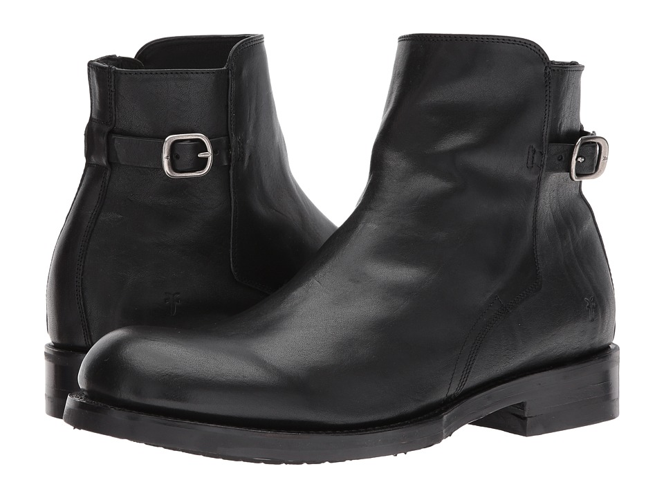 Frye Folsom Moto (Black Pressed Full Grain) Men