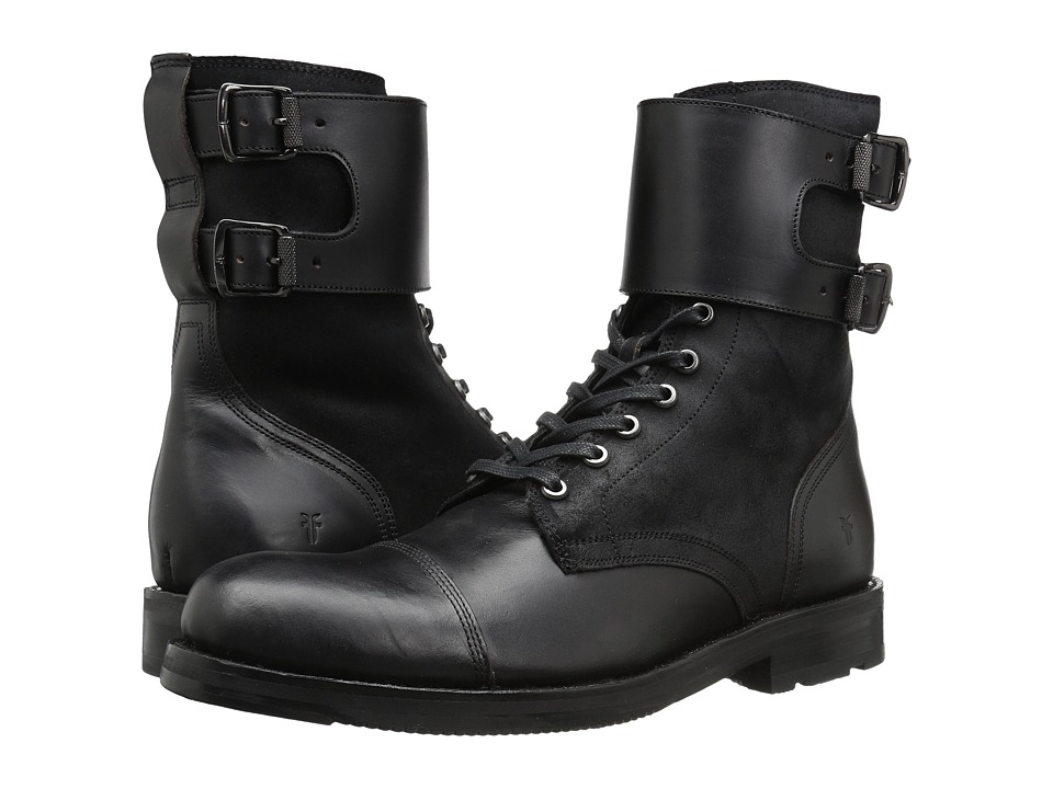 Frye Officer Cuff Boot (Black Smooth Pull Up/Waxed Vintage Leather) Men