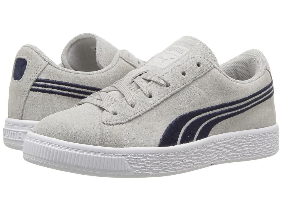 Puma Kids - Suede Classic Badge (Little Kid/Big Kid) (Gray Violet/Peacoat) Boys Shoes