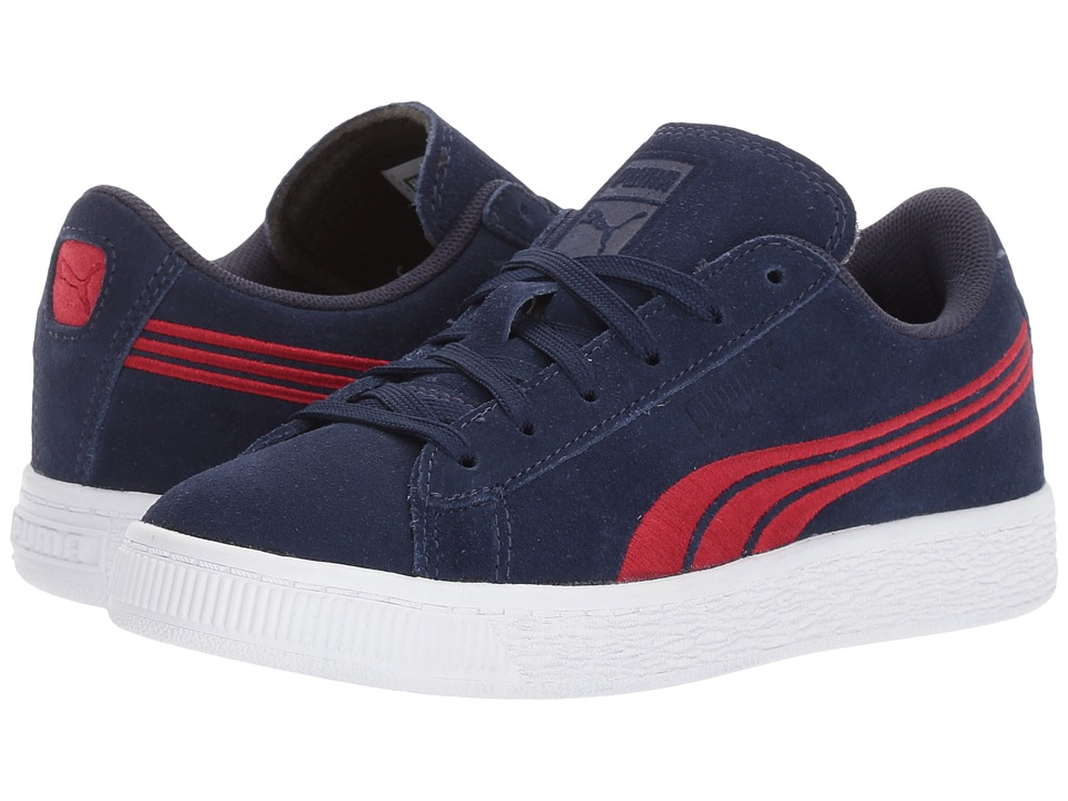 Puma Kids Suede Classic Badge (Little Kid/Big Kid) (Peacoat/Toreador) Boys Shoes