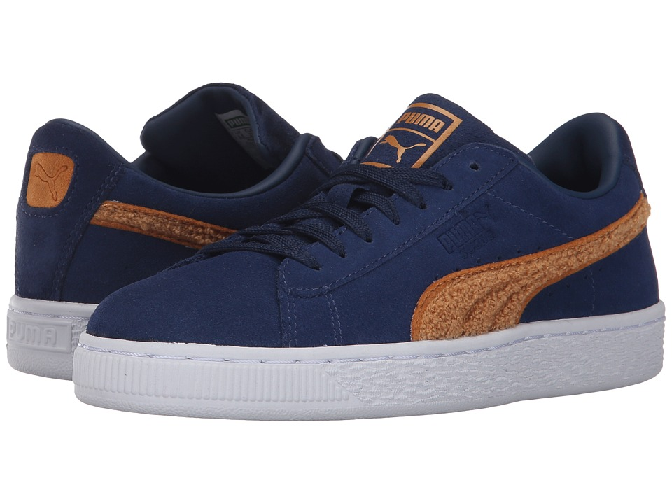 Puma Kids Suede Classic Terry (Big Kid) (Blue Depths/Inca Gold) Boys Shoes