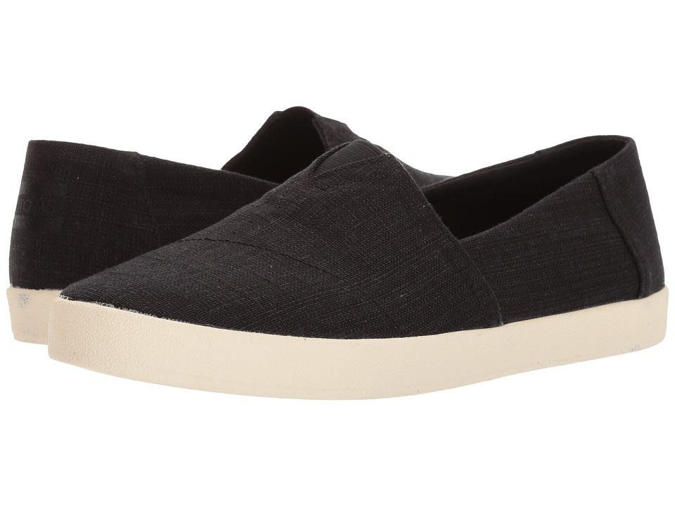 TOMS - Avalon Slip-On (Black Linen) Mens Slip on  Shoes