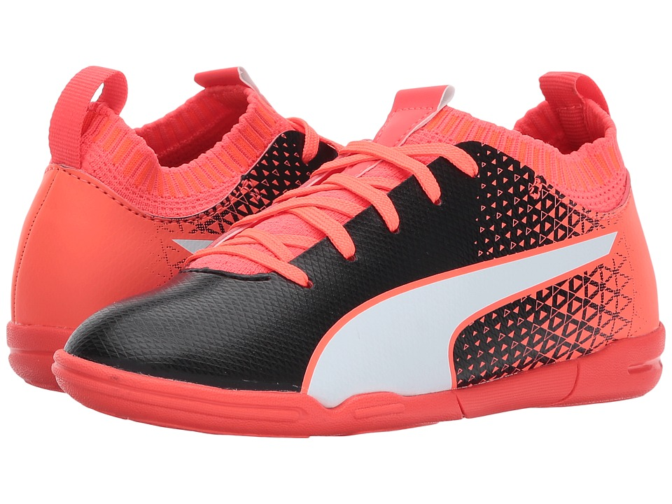 Puma Kids evoKnit FTB IT (Little Kid/Big Kid) (Puma Black/Puma White/Fiery Coral) Kids Shoes