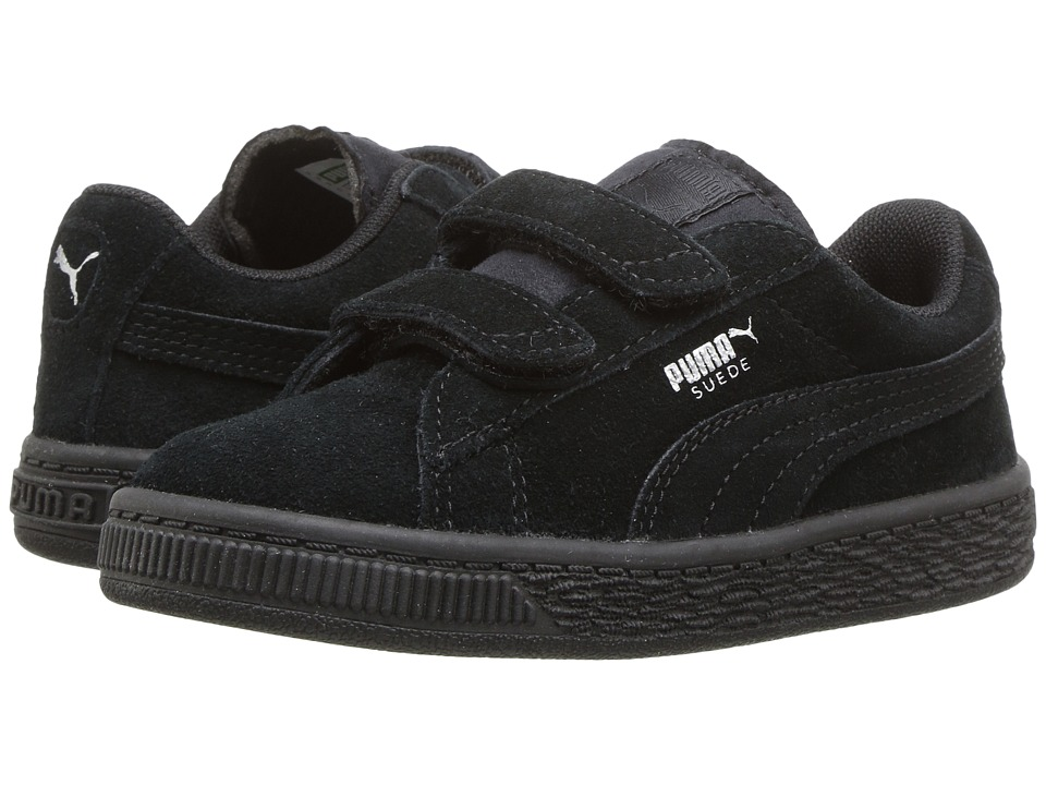 Puma Kids Suede 2 Straps (Toddler) (Puma Black/Puma Silver) Boys Shoes