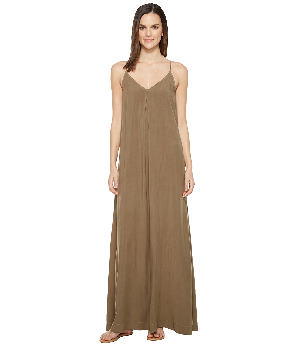 Michael Stars Modern Rayon Maxi Slip Dress (Olive Moss) Women
