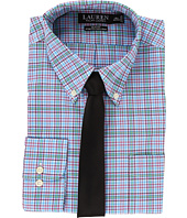 LAUREN Ralph Lauren - Non Iron Poplin Slim Button Down Collar Plaid Dress Shirt