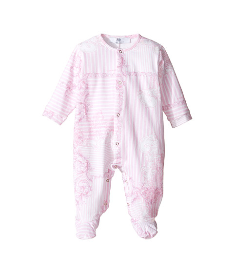 Versace Kids Long Sleeve Barocco Righe Print Footie w/ Front Snaps (Infant)