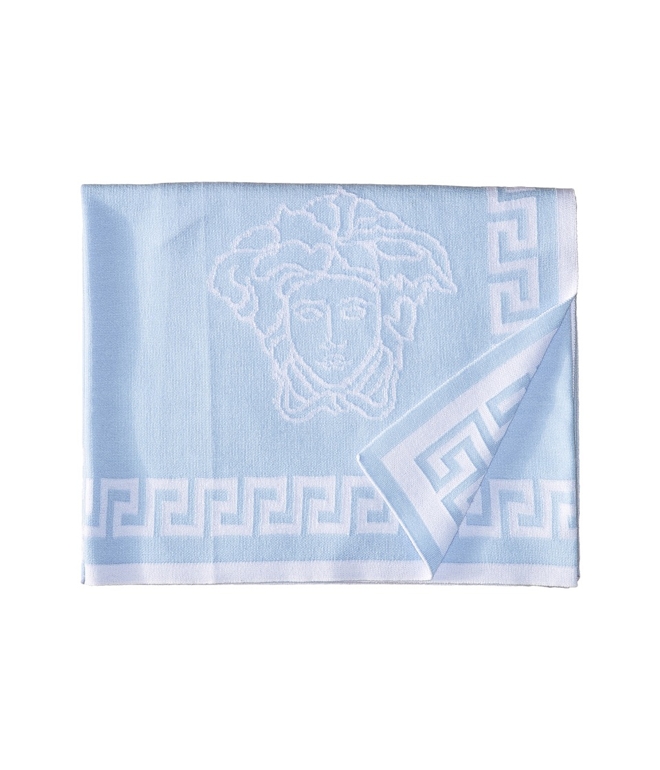 Versace Kids - Knit Medusa Blanket w/ Greca Border (Blue) Accessories Travel