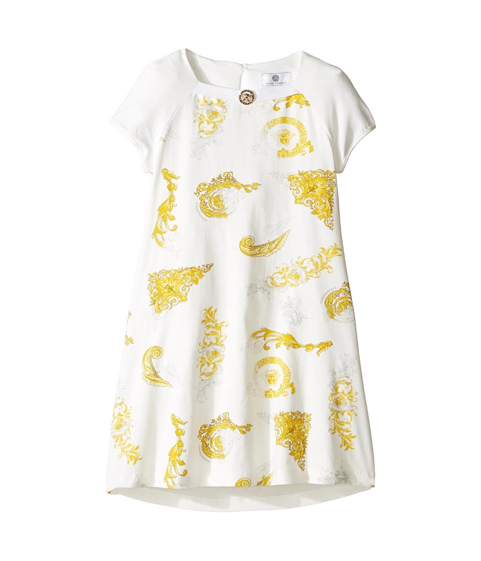 Versace Kids - Short Sleeve Dress w/ Medusa Barocco Print on Front