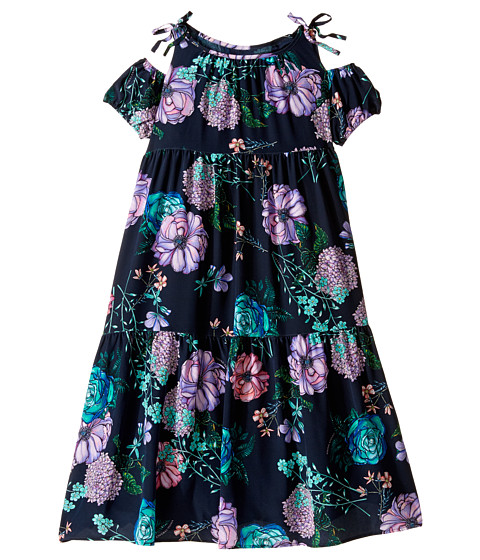 Versace Kids Floral Print Maxi Dress w/ Shoulder Cut Outs (Big Kids)