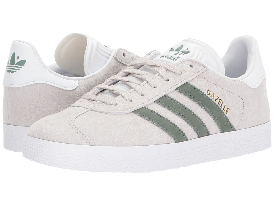 adidas Originals Gazelle (Pearl Grey-Trace Green-White) Womens Tennis Shoes
