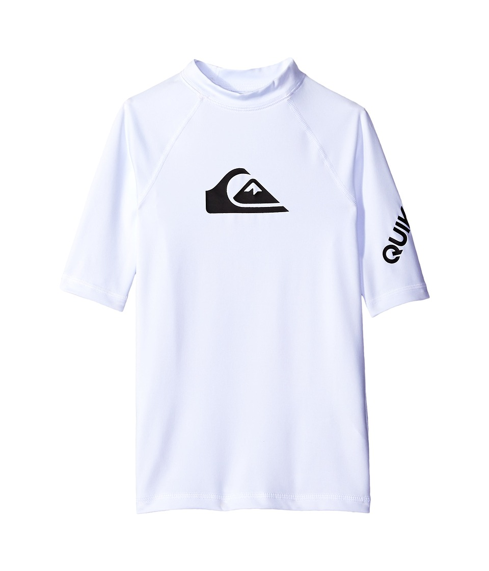 Quiksilver Kids - All Time Short Sleeve Shirt (Big Kids) (White) Boys Swimwear