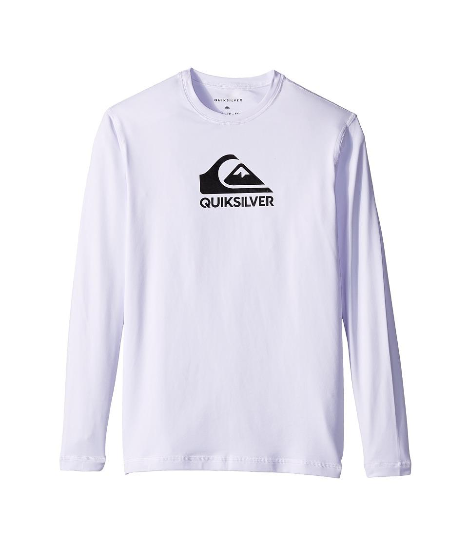 Quiksilver Kids - Solid Streak Long Sleeve Rashguard (Big Kids) (White) Boys Long Sleeve Pullover