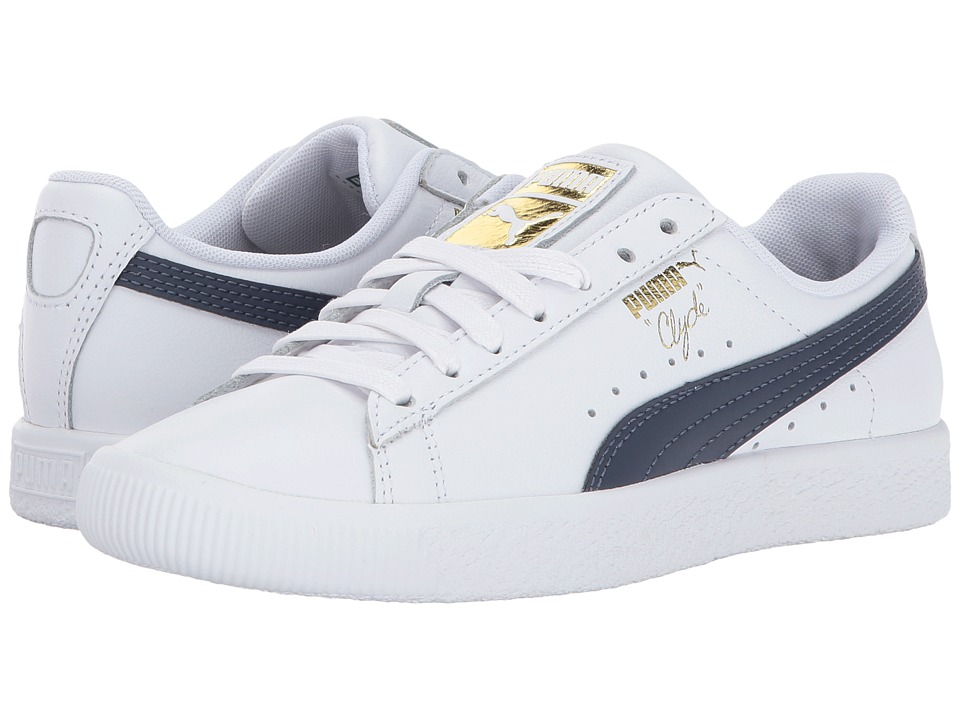 Puma Kids Clyde Core L Foil (Big Kid) (Puma White/Puma New Navy) Boys Shoes