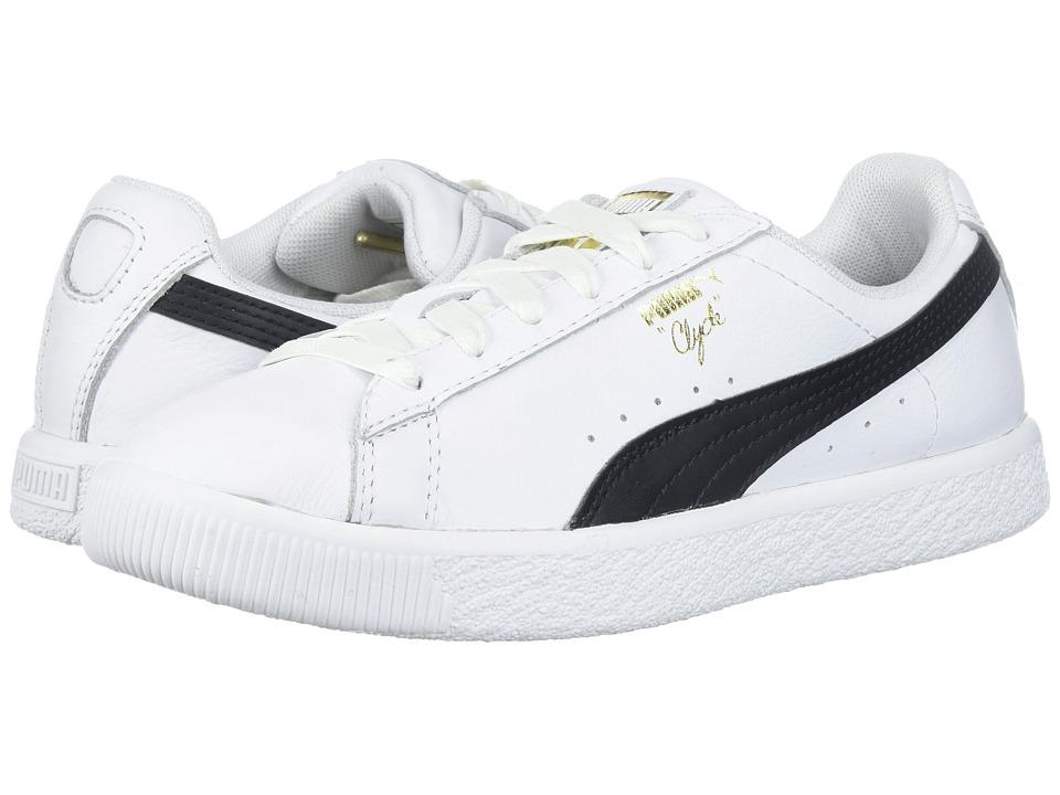 Puma Kids Clyde Core L Foil (Little Kid/Big Kid) (Puma White/Puma Black) Boys Shoes