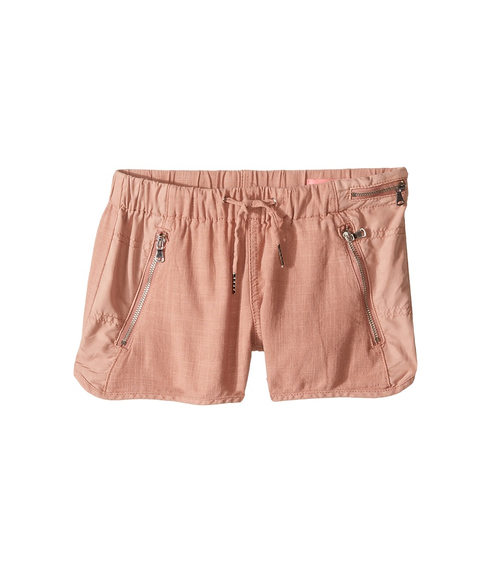 Blank NYC Kids - Drawstring Linen Shorts w/ Zipper Detail in Fading Rose