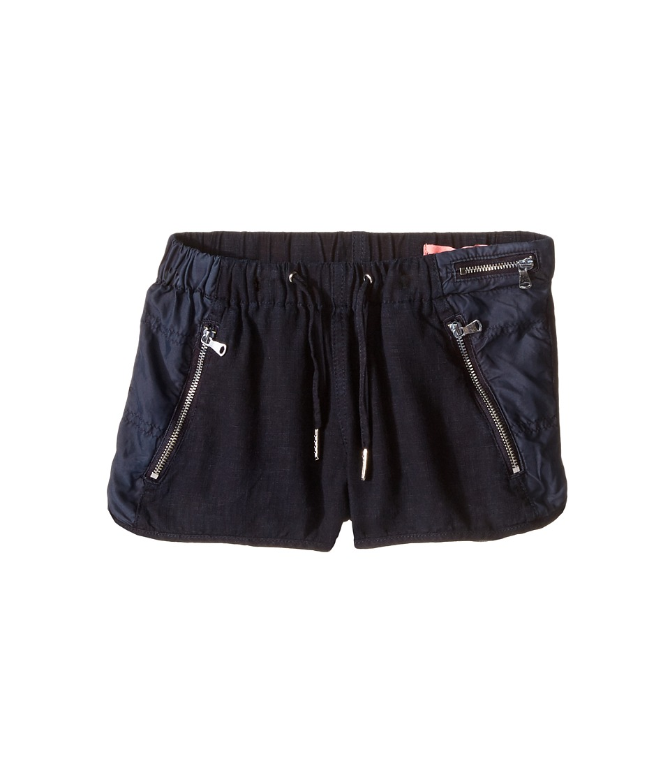 Blank NYC Kids - Drawstring Linen Shorts w/ Zipper Detail in Midnight Hour