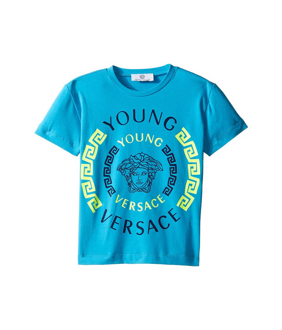 Versace Kids Short Sleeve Contract Medusa Logo T-Shirt (Toddler/Little Kids) (Turquoise) Boy