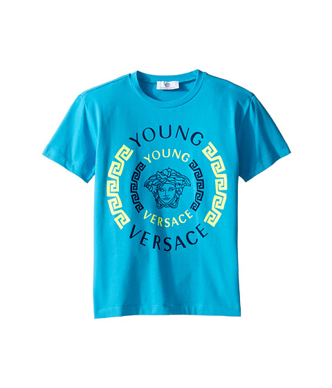 Versace Kids Short Sleeve Contract Medusa Logo T-Shirt (Big Kids)