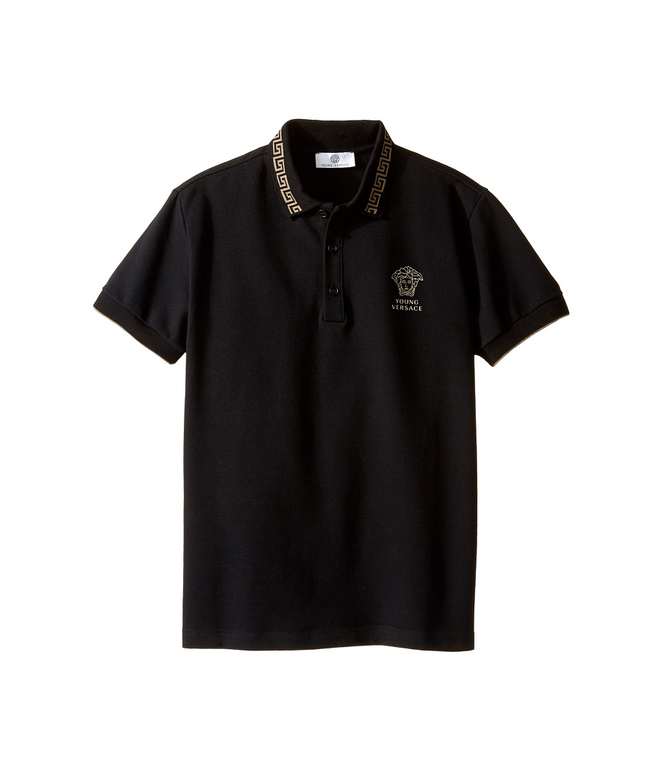 Versace Kids Short Sleeve Polo w/ Greca Collar Medusa Logo Detail (Big Kids) (Black/Beige) Boy