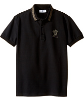 Versace Kids - Short Sleeve Polo w/ Greca Collar & Medusa Logo Detail (Big Kids)