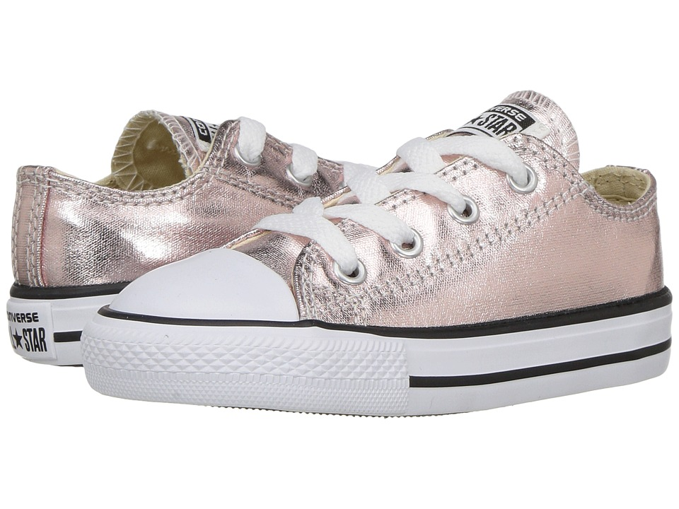 Converse Kids Chuck Taylor All Star Ox Metallic (Infant/Toddler) (Rose Quartz/White/Black) Girl
