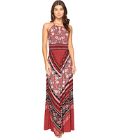 London Times - Sleeveless Keyhole Halter Maxi Dress