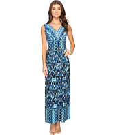 London Times - Ikat Chain V-Neck Maxi Dress