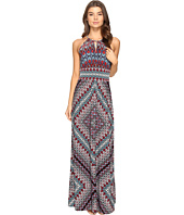 London Times - Ethnic Medallion Halter Maxi Dress