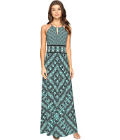 London Times - Grid Puzzle Keyhole Halter Maxi Dress