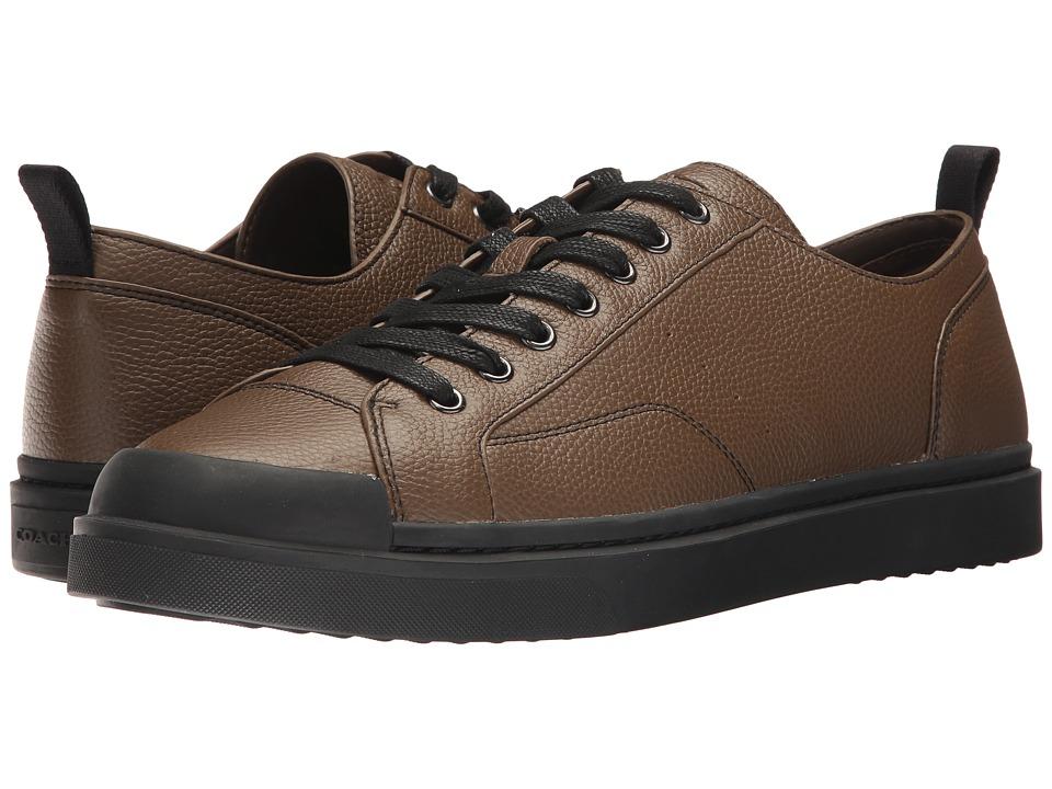 COACH - C114 Lo Top Sneaker Pebbled (Fatigue/Black) Mens Shoes