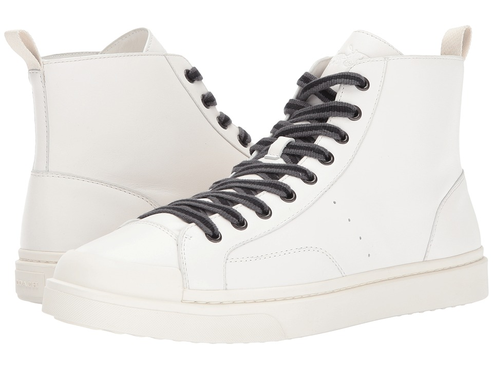 COACH - C214 Hi Top Sneaker Leather (White/White) Mens Shoes