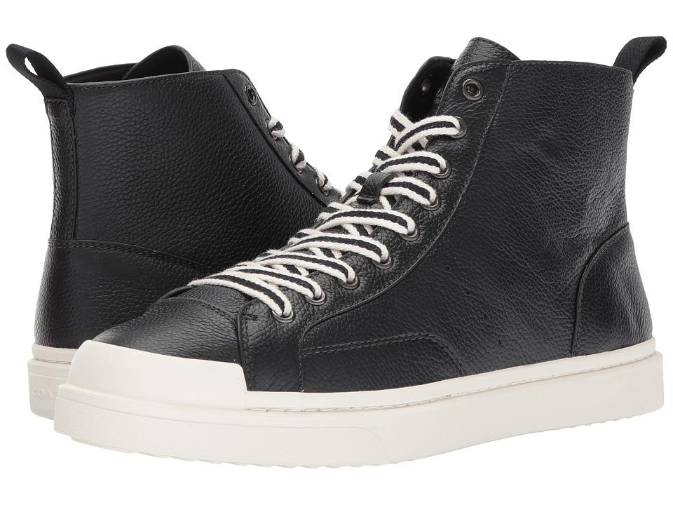 COACH - C214 Hi Top Sneaker Pebbled (Black/White) Mens Shoes