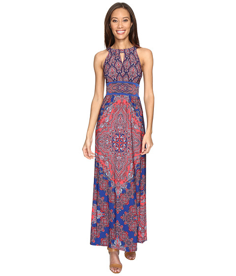 London Times Banded Halter Maxi Dress