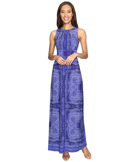 London Times Pleated Neck Border Maxi Dress