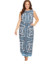 London Times - Plus Size Paisley Medallion Blouson Maxi Dress