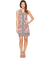 London Times - Scroll Flower Border V-Neck Shift Dress