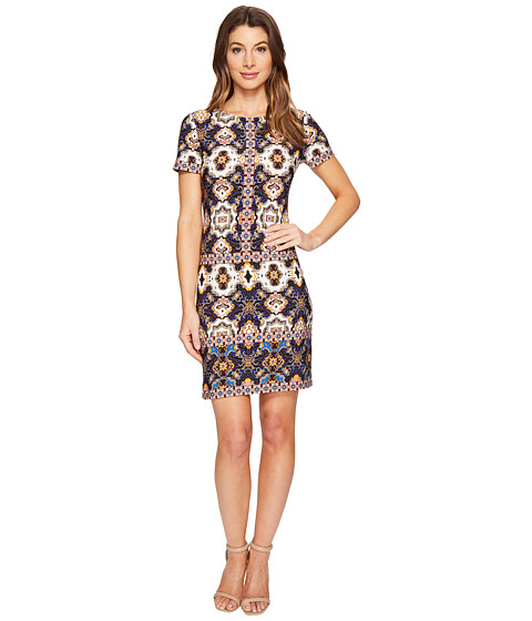 London Times Flower Tile Short Sleeve Shift Dress