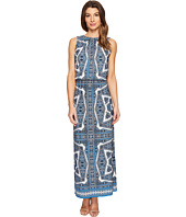 London Times - Paisley Medallion Blouson Maxi Dress