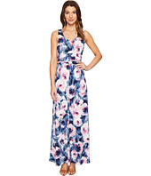 London Times - Double V-Neck Ruched Waist Maxi Dress