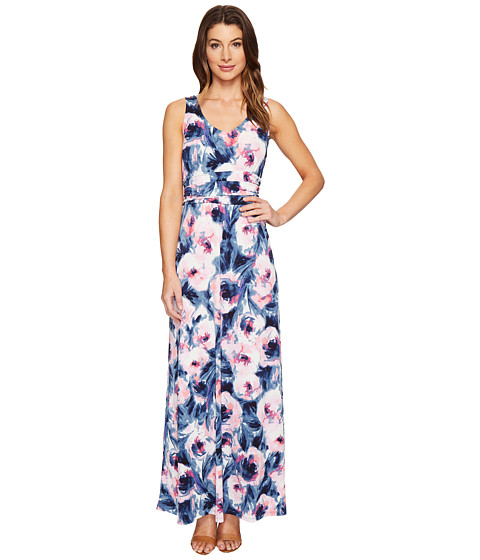 London Times Double V-Neck Ruched Waist Maxi Dress