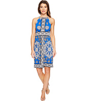 London Times - Paisley Dial Halter Fit & Flare Dress