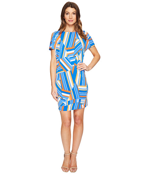 London Times Patchwork Stripe Cold Shoulder Shift Dress