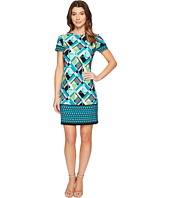 London Times - Geo Puzzle Border Short Sleeve Shift Dress
